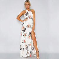 Womens Vintage Floral Off Shoulder Long Maxi Dress Sexy Summer Holiday Sundress