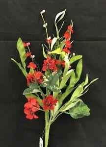 """Geranium Mix Foliage Spray Stem~Red, Green~22""""~Silk/Artificial"""