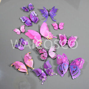 New 12pcs D-Wing PIN 3D Butterfly Home Decor Curtain Art Design Decal Decoration
