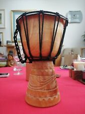 More details for single drum bongos. wood and hide skin.