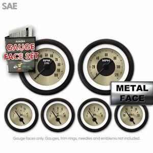 Gauge Face Set SAE Classic Retro Rodder GOLD Needles Trim Rings HOT ROD Truck