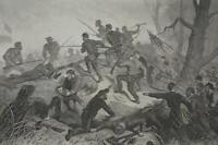 Antique US Civil War Charge on Fort Donaldson Engraving 1863 Original Art