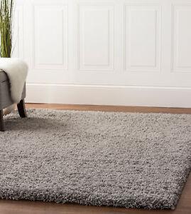 Soft & Plush Solid Shag Rug Light Gray Carpet 4' x 6'