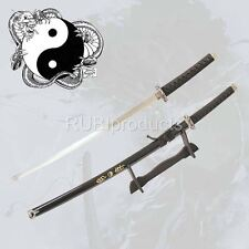 "40"" Black Katana Sword YIN YANG Dragon Carbon Steel Samurai Ninja w/ Stand"