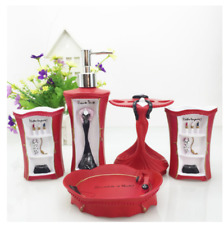 5pcs Bathroom Accessories Set Soap Dish Dispenser Toothbrush Holder, Resin Red