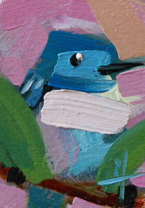 Cerulean Warbler no. 136 Painting ACEO Angela Moulton