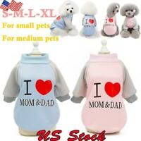 I Love MOM & DAD Winter Dog Coat Pet Cat Samll Dogs Sweatshirt Jackets Clothes