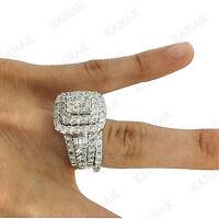 2.30 Ct Diamond Engagement Ring Wedding Band Bridal Set 14K White Gold Finish