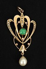Art Nouveau 9ct Gold Turquoise & Seed Pearl Pendant. NICE1