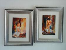 Pair of Watercolours, Beautiful Woman posing