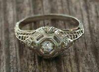 Vintage Retro Engagement Filigree Art Deco Ring 1 Ct Diamond 14K White Gold Over