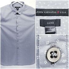 John Varvatos Star USA Luxe Mens Large Shirt Short Sleeve Button Up Gray