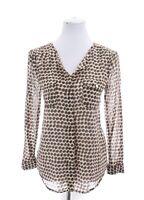Ann Taylor Loft Womens Sheer Leopard Print Button Up Shirt Blouse Brown Sz Small