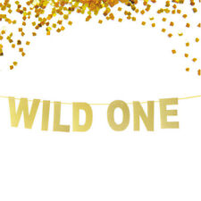 Gold Glittered WILD ONE Banner Bachelor Engagement Wedding Xmas Party Decor HK