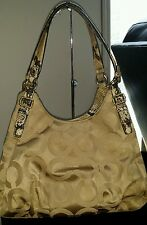 Coach Python Maggie Madison Opt Art Shoulder Bag Beige