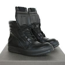 RICK OWENS black leather Geobasket shoes hi-top dunks geobaskets sneakers 37 NEW