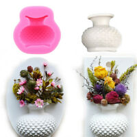 Flower Vase Shape Silicone Mould Fondant Cake Mini Soap Candle 3D Mold Decor KV