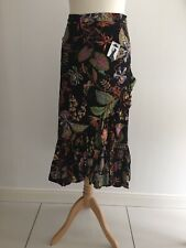 H&M Calf Length Flounced Midi Skirt Wrap Ruffle Black Botanical SIZE 8/10