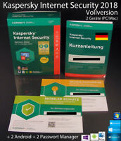 Kaspersky Internet Security 2018 Vollversion Box 2 Geräte + 2 Android OVP NEU