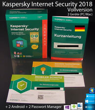 KASPERSKY Internet Security 2018 VERSIONE COMPLETA BOX 2 dispositivi + 2 Android OVP NUOVO