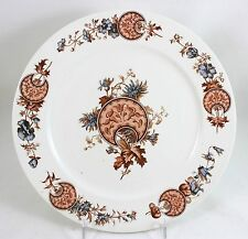 ANTIQUE BROWN WESTHEAD CAULDON CHINA H4603 DINNER PLATE HAND PAINTED BLUE FLORAL