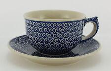 Bunzlauer Keramik Tasse F036 mit Unterteller Dekor 63 - blau/weiß - 0,3Liter