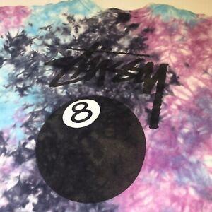 Stussy 2XL Multicoloured Tie Dye 8 Ball Theme T-Shirt Dual Motif