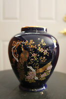 "BEAUTIFUL ASIAN PEACOCK FLORAL COBALT BLUE VASE 5-1/2"" TALL"
