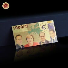 WR 24K Europe 1000 Euro GOLD Banknote Color World Money Holiday Collectible Gift