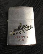 Vtg Zippo Cigarette Lighter USS WATTS DD-567 1944-1964 Fletcher Class Destroyer