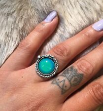 Hand Made Sterling Silver 925 Mood Ring Color Changing Liquid Crystal