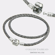 "Pandora Sterling Silver Double Silver Leather 16.1"" Bracelet  590705CSG"