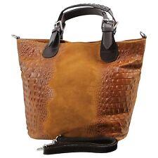 Made in Italy ital.echt Leder Henkeltasche Handtasche Bag Cognac Kroko Optik