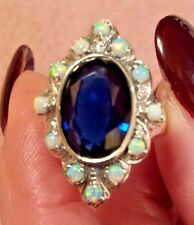 8 ct. Blue Sapphire Quartz & Fire Opal Art Nouveau Sterling Silver Ring Size 6