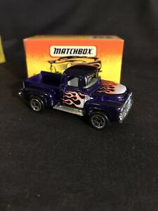 MATCHBOX #48 56 FORD PICKUP FLAMES FLARE SIDE CHROME PURPLE RED YELLOW BOX MB-7