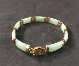 Vintage Estate Chinese Green Jade 585 14K Gold Bracelet Happiness Character