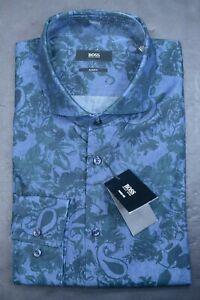Hugo Boss Mens Jason Slim Fit Green Floral Print Blue Cotton Dress Shirt 37 14.5