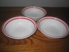 """3 Corelle Vitrelle White Cereal Bowls with 3  Red Rings 6"""" / MINT"""