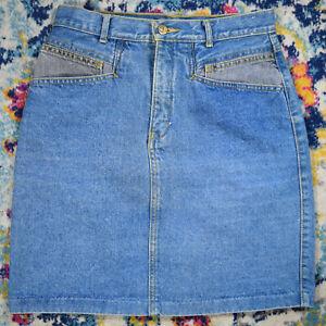 Vintage 70s 80s Jordache 2 Tone Denim Jeans Skirt W27-28 L19 blue w gray pocket