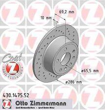 Disque de frein arriere ZIMMERMANN PERCE 430.1475.52 OPEL VECTRA B 36_ 1.8 i 16V