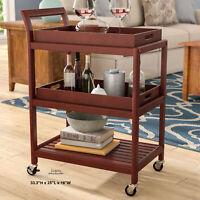 Mini Wood Bar Rolling Cart Kitchen Dining Trolley 3 Shelf Storage Serving Table