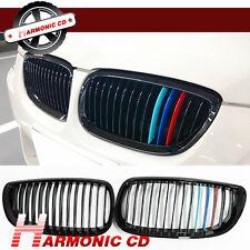 For 2008-2013 BMW E90 E92 E93 M3 Shiny Black Front Grille Grill Tri Color
