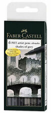 Faber-Castell Pitt Artist Pens ~ Shades of Grey ~ Size B (Brush) ~ 6 Pens ~ NIP