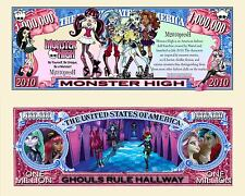 Monster High Million Dollar Bill Collectible Fake Play Funny Money Novelty Note