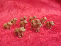 10 Piccolo Figure di Legno, Cani, Miniature Legno Intagliato