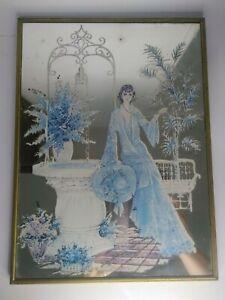 VINTAGE MIRROR printed art deco lady bedroom 70s retro
