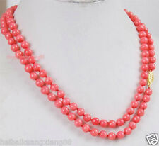 6MM Pink Coral Round Beads Gemstones Necklace Grade long 35""