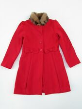 Janie and Jack 6 yr Tartan Party Red Wool Bow Coat Faux Fur Collar AB1