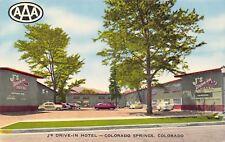 Colorado Springs Colorado~J's Drive-In Motel~ART DECO Roadside~1940-50s Cars PC