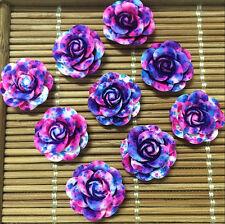 hot 10pcs Resin Rose Flower flatback Appliques For phone/wedding/crafts SL7